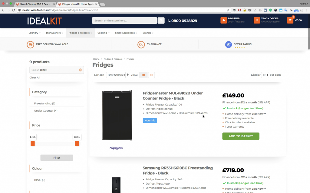 Filtered search for black fridges