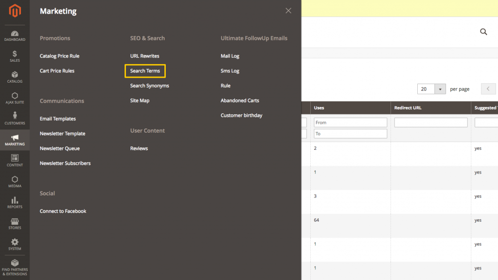Menu path to select search customisation