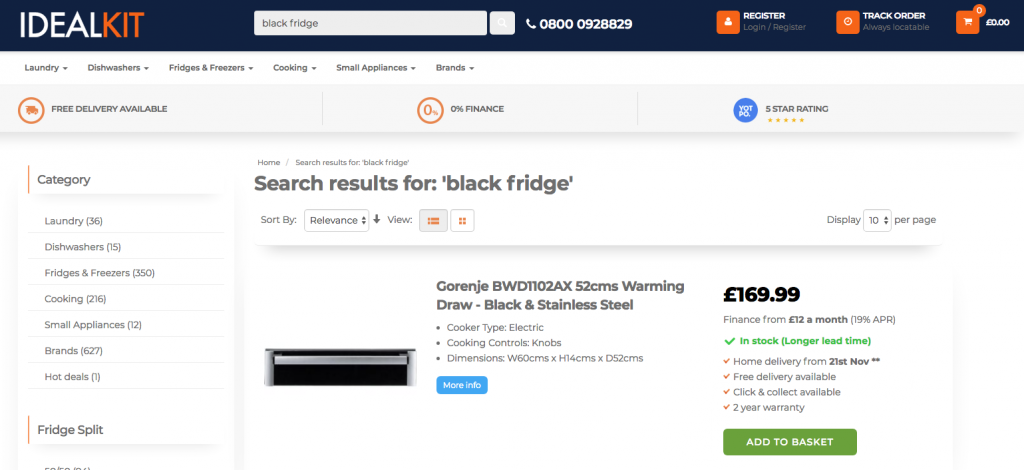Search results for black fridge before