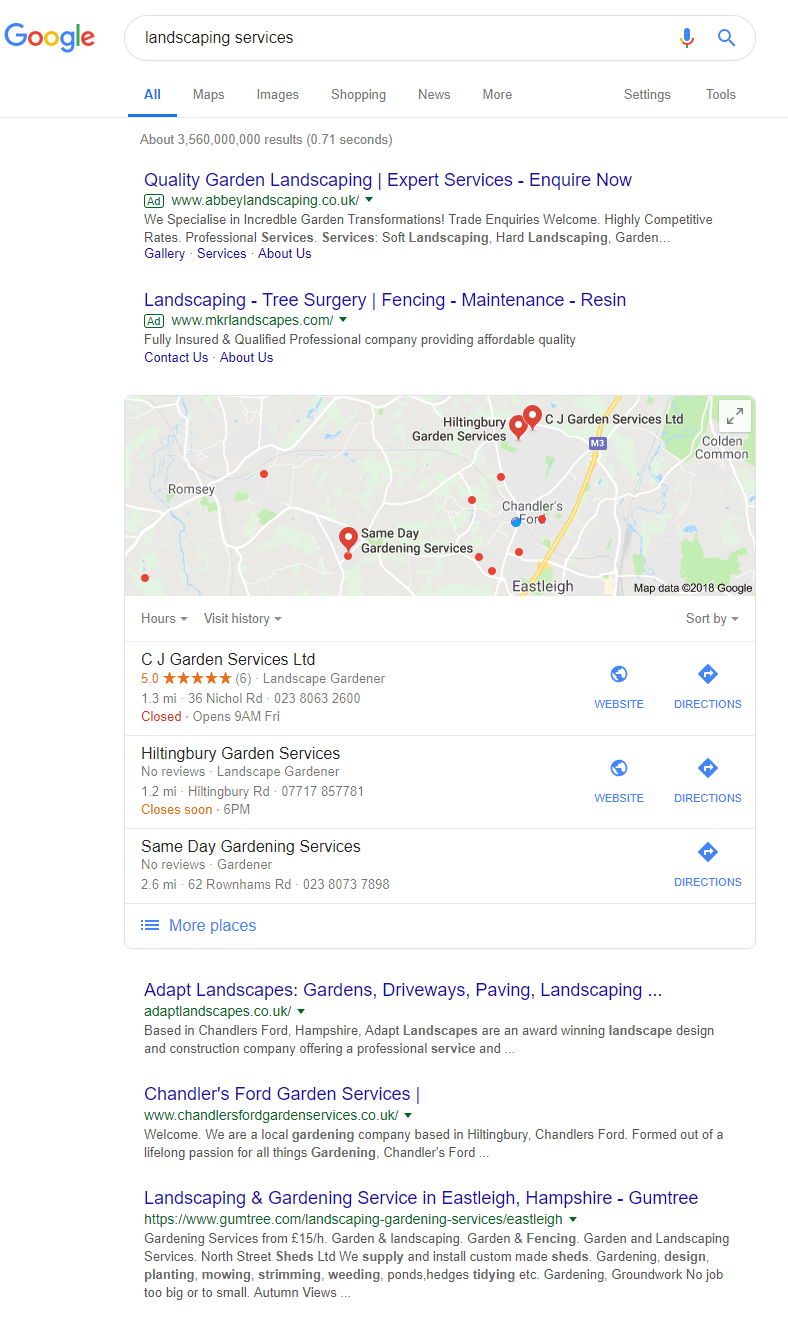 Search results for landscaping services in Google