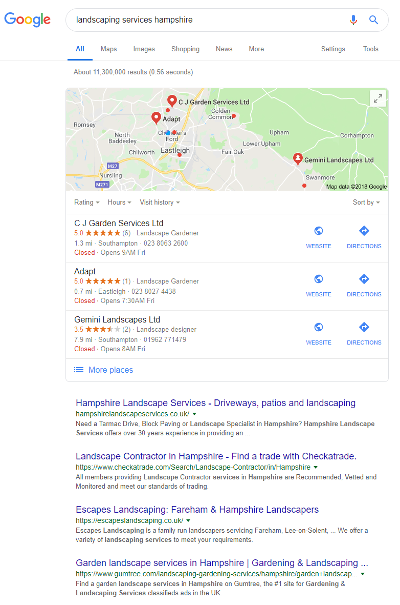 Search for landscaping services hampshire in Google
